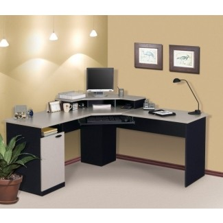 Escritorio de esquina para computadora con aparador moderno en forma de L en