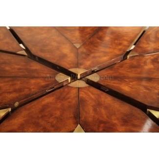 60 84 mesa redonda de comedor de caoba con hojas para 8 personas