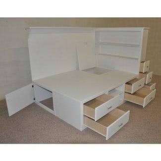 Armazón de cama de tamaño completo con cajones