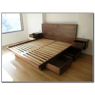 Cama de plataforma tamaño king con planos de cajones
