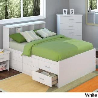 Cabecero de tamaño completo con estantes
