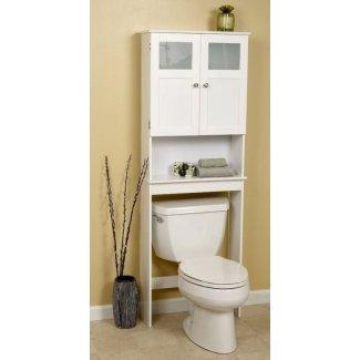 Ahorrador de espacio de almacenamiento de baño sobre el estante del inodoro blanco mate