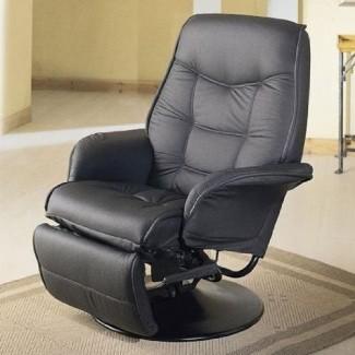 Hermoso sillón reclinable giratorio con cojín de cuero sintético en negro
