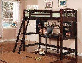 Dorena Twin Low Loft Bed con escritorio y estanterías