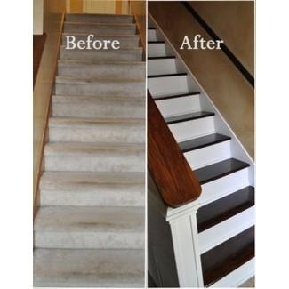 Escaleras de roble con corredor de alfombra