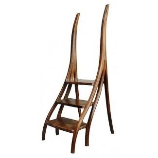 Peldaños de biblioteca de nogal taburete de madera de david n ebner