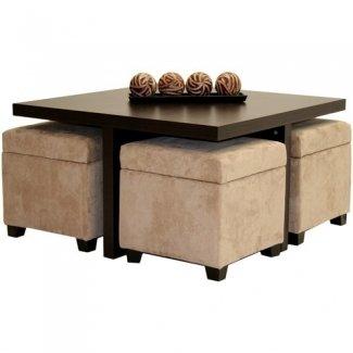 Mesa de centro Club con 4 otomanas de almacenamiento chocolate y beige
