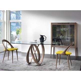 Mesa de comedor ovalada de vidrio