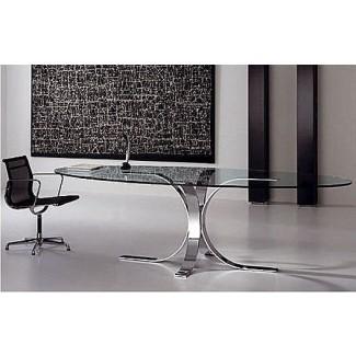 Mesa de cocina de vidrio ovalada