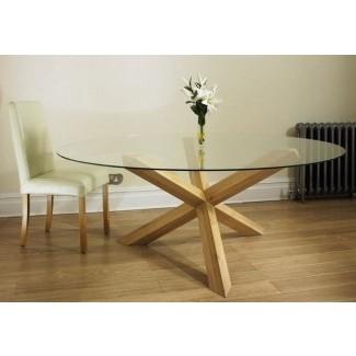 Mesa de comedor con tapa de vidrio redonda