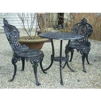 Juego de silla de mesa para exterior de hierro forjado negro