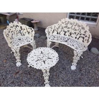 Conjunto de banco de jardín de hierro fundido para patio, silla al aire libre, mesa, uva