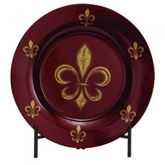 Plato decorativo redondo de vidrio con soporte de metal Fleur De Lis, 19 pulgadas, oro rojo