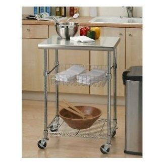 Isla de cocina con almacenamiento de carro mesa pequeña con ruedas utilidad moderna