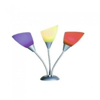 Home Source Industries LMP12676 LÁMPARA DE MESA Lámpara de escritorio con pantallas de plástico en colores brillantes, plateado