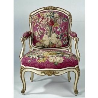 Sillón tapizado con tapiz con ramos de flores i gourdin 1750