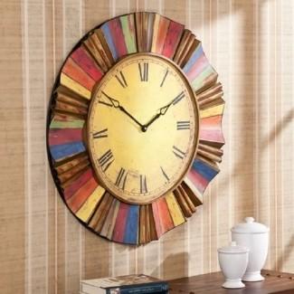 Reloj de pared de gran tamaño de metal rústico decoración occidental vintage arte colorido [19659017] ❤️ </span></div> <p class=