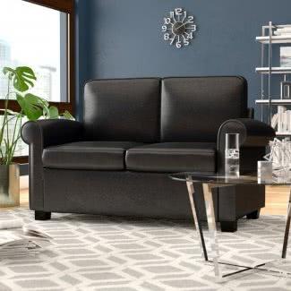 Sofá cama doble de madera maciza negra Loveseat