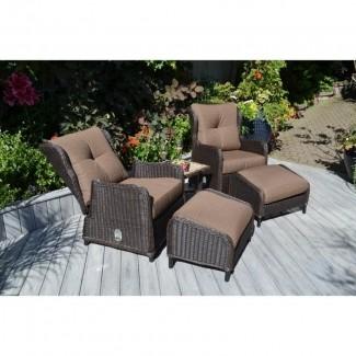 Grupo reclinable Sunbrella de mimbre para todo clima de 5 piezas Westport
