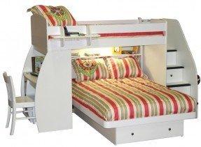 Berg Furniture Sierra Twin Over Full en forma de L litera con escritorio y almacenamiento