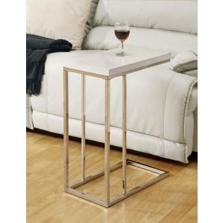 Mesa auxiliar blanca pequeña de madera, bandeja para tv, sofá, lado del sofá