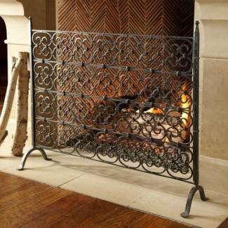 Pantalla decorativa para chimenea de desplazamiento gótico de hierro forjado a mano de Wisteria
