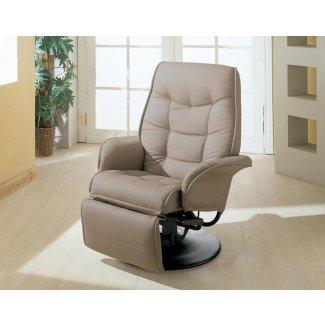 Silla reclinable de cuero sintético de hueso bronceado asiento giratorio rv barco