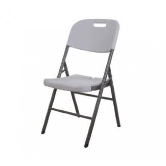 PAQUETE de 2 sillas plegables HomCom con asiento y respaldo moldeados - Color granito blanco