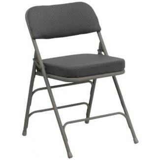 Paquete de 2 muebles Flash Silla plegable premium tapizada en tela, gris