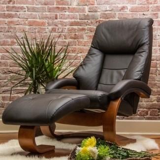 Otomana y sillón reclinable ergonómico de cuero Oslo 58