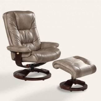 Sillón reclinable giratorio de cuero regenerado con otomana MAC Motion Oslo - gris