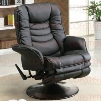 Silla reclinable giratoria con brazo cónico Flair en cuero sintético negro