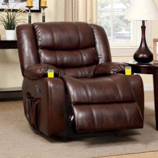 Furniture of America Plushore Sillón reclinable de cuero regenerado con dúo