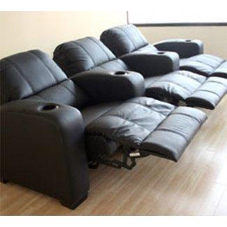Asientos de cine en casa reclinables de 3 asientos de cuero negro 3
