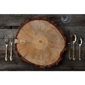 9 10 Cargador de rodajas de árbol de madera rústica