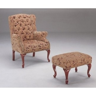 Coaster Queen Anne Style Button Tufted Wing Accent Chair con otomana
