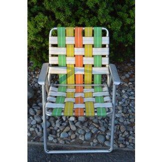 Silla de jardín de tela vintage de aluminio