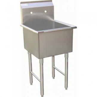 """Fregadero comercial de acero inoxidable para preparación de alimentos de 1 compartimento ACE de 18 """"W x 18"""" L con certificación ETL"""
