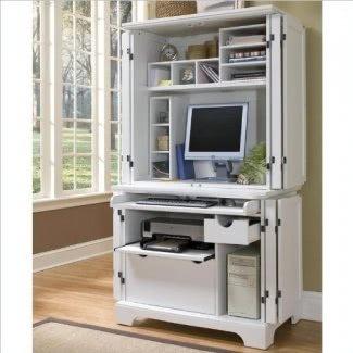 Home Styles 5530-190 Escritorio y aparador compacto para computadora Naples, acabado blanco