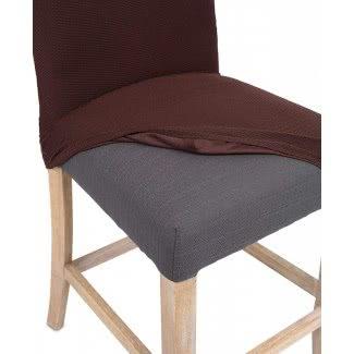 Juego de cuatro fundas deslizantes de tela para sillas de comedor