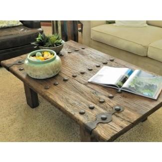 Mesa de centro de madera y hierro forjado 1