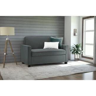 Sofá cama individual de microfibra gris