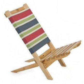 Silla de playa de madera maciza sillón de jardín portátil tela elegante