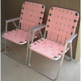 2 sillas de jardín rosa plegables de aluminio vintage con correas para acampar en el patio