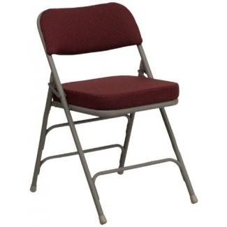 Flash Furniture, paquete de 2 sillas plegables tapizadas de metal de la serie Hercules con tela burdeos curvada