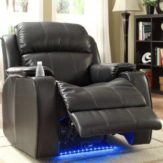 Jimmy Power con masaje, LED y sillón reclinable con portavasos