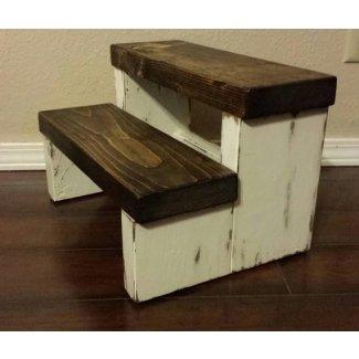 Taburete rústico con peldaños taburete de madera Farmhouse