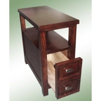 NUEVO Mesa auxiliar para silla en Rich Espresso Cappuccino Cajón extragrande