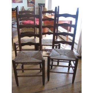 Juego de 4 sillas con respaldo de escalera rústicas antiguas de madera rush