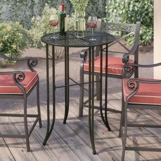 Mesa de bar tradicional de hierro para patio
